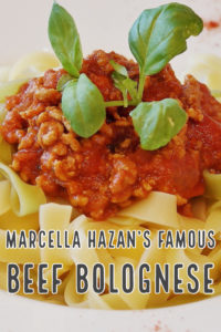 Marcella Hazan's Beef Bolognese Recipe When famed Italian cook and author Marcella Hazan died in 2013, the New York Times asked readers which of her famous recipes were their favorites. Overwhelmingly the answer was the Bolognese Meat Sauce Recipe on page 203 of her bestselling cookbook: Essentials of Classic Italian Cooking.
